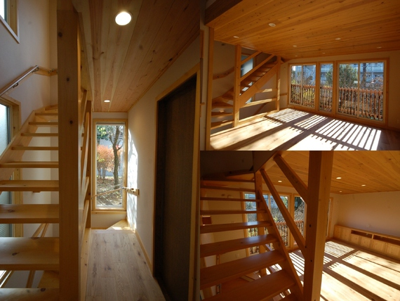 地下から4層浮かぶ階段から光が降り注ぐ家